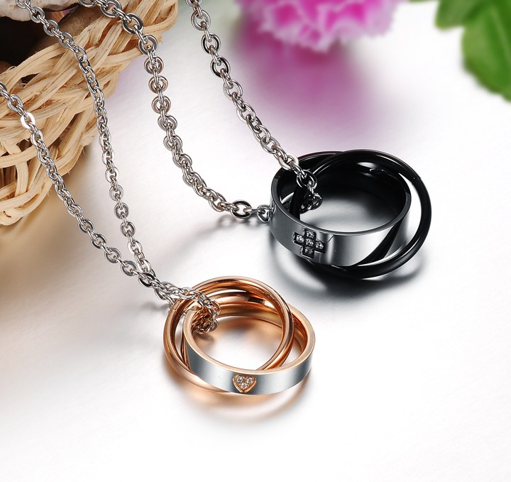 Wholesale Most popular rose gold stainless steel couples Necklace TGSTN040 2