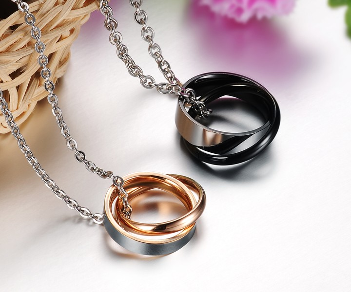 Wholesale Most popular rose gold stainless steel couples Necklace TGSTN040 3