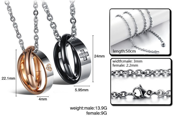 Wholesale Most popular rose gold stainless steel couples Necklace TGSTN040 4