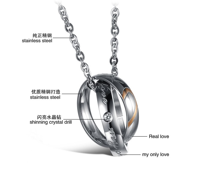 Wholesale Fashion stainless steel couples Necklace TGSTN001 1