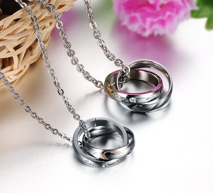 Wholesale Fashion stainless steel couples Necklace TGSTN001 2