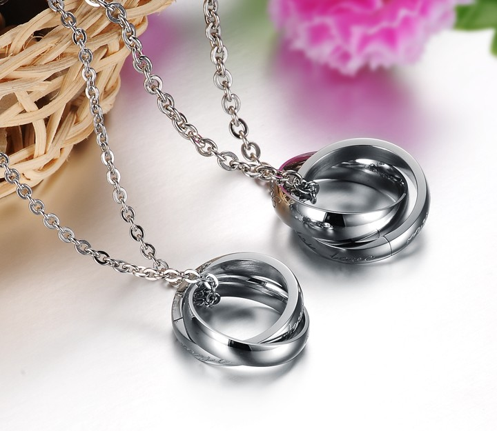 Wholesale Fashion stainless steel couples Necklace TGSTN001 3