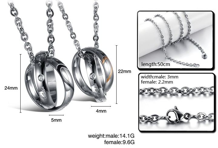 Wholesale Fashion stainless steel couples Necklace TGSTN001 4