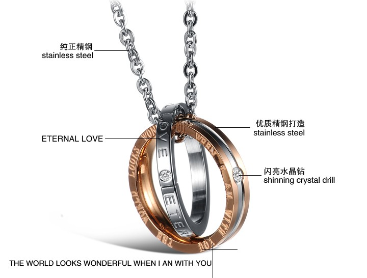 Wholesale Fashion rose gold stainless steel couples Necklace TGSTN041 1