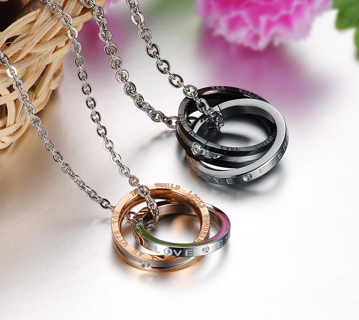 Wholesale Fashion rose gold stainless steel couples Necklace TGSTN041 2