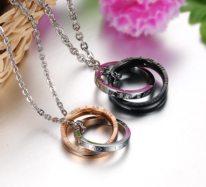 Wholesale Fashion rose gold stainless steel couples Necklace TGSTN041 3