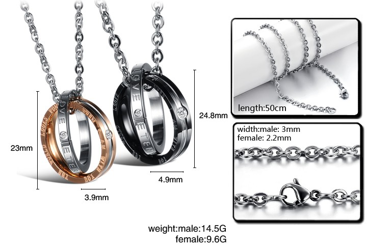 Wholesale Fashion rose gold stainless steel couples Necklace TGSTN041 4