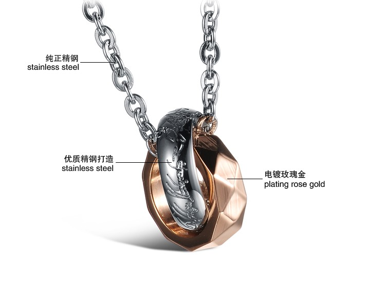 Wholesale Free shipping fashion rose gold stainless steel couples Necklace TGSTN042 1