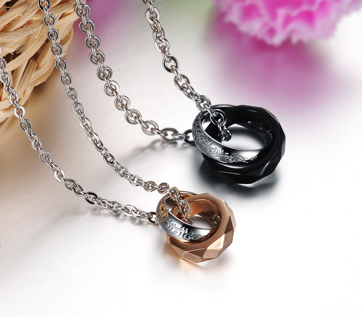 Wholesale Free shipping fashion rose gold stainless steel couples Necklace TGSTN042 2