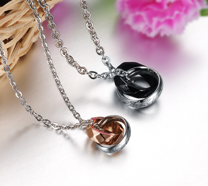 Wholesale Free shipping fashion rose gold stainless steel couples Necklace TGSTN042 3