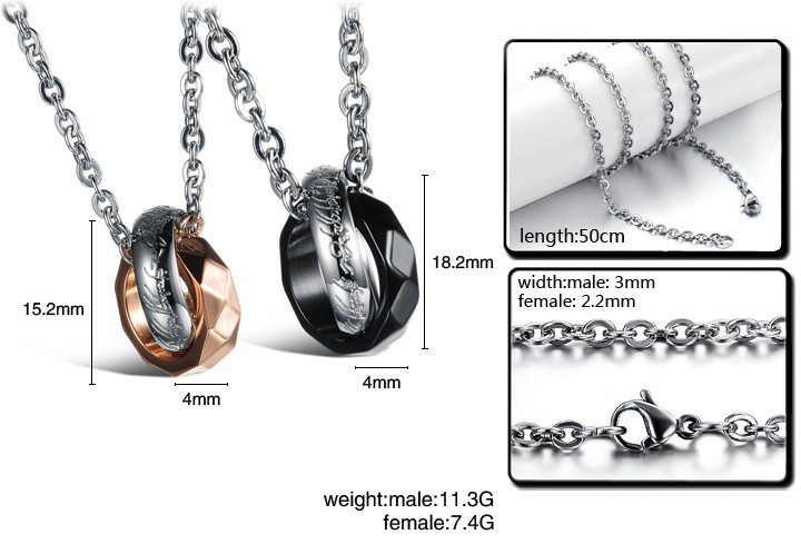 Wholesale Free shipping fashion rose gold stainless steel couples Necklace TGSTN042 4