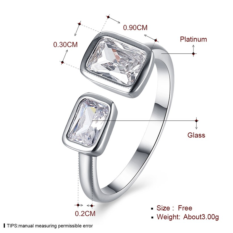 Wholesale Romantic Platinum Ring For Women With white square Dazzling Crystal Cubic Zircon Stone Engagement Rings TGCZR311 0