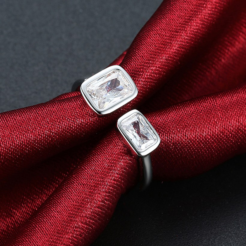 Wholesale Romantic Platinum Ring For Women With white square Dazzling Crystal Cubic Zircon Stone Engagement Rings TGCZR311 3