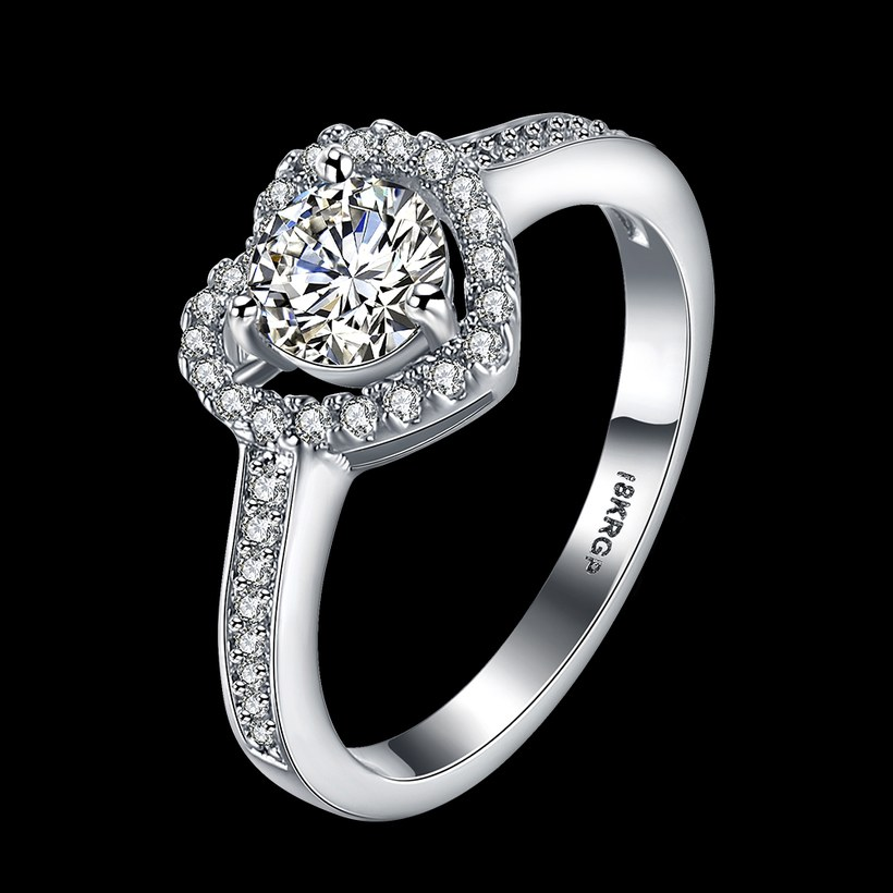 Wholesale Romantic Platinum Love Heart Rings Cubic Zircon Finger Ring for Women Wedding Engagement Crystal Jewelry Gift TGCZR399 0