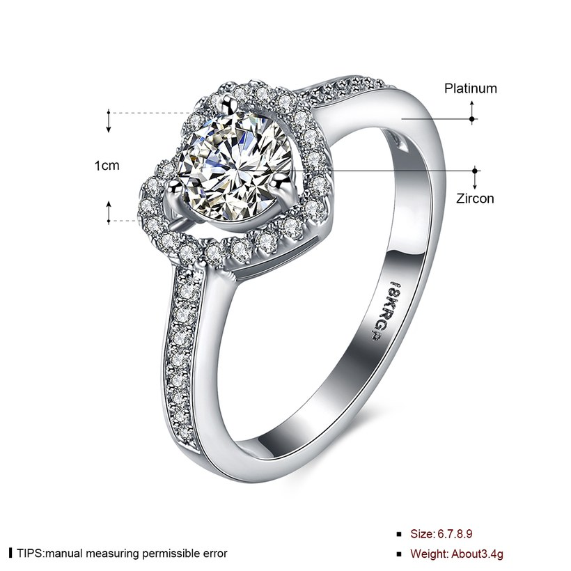 Wholesale Romantic Platinum Love Heart Rings Cubic Zircon Finger Ring for Women Wedding Engagement Crystal Jewelry Gift TGCZR399 1