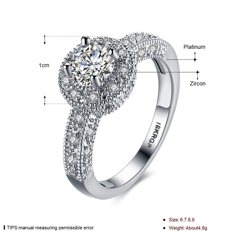 Wholesale Lose money promotion hot sell jewelry from China super shiny zircon platinum wedding party rings for women gift TGCZR410 1