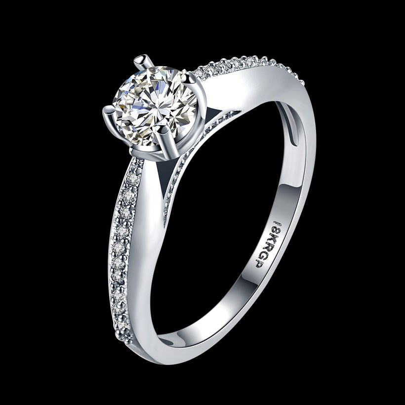 Wholesale  Romantic fashion hot sell jewelry from China super shiny zircon platinum wedding party rings for women gift TGCZR433 0