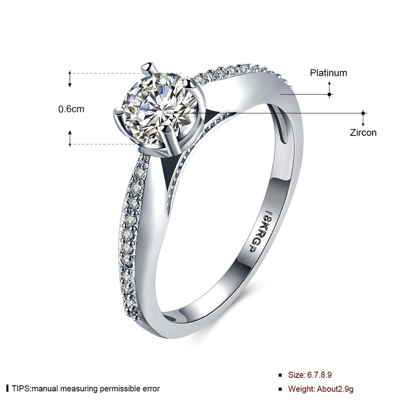 Wholesale  Romantic fashion hot sell jewelry from China super shiny zircon platinum wedding party rings for women gift TGCZR433 1