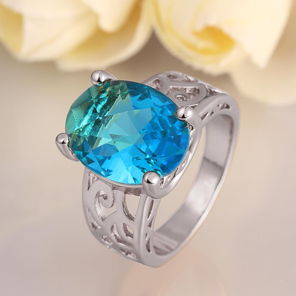 Wholesale Classic Platinum Ring Oval blue Zircon Women Ring Gorgeous Wedding Anniversary Birthday Gift for Wife/Mother/Grandmother TGCZR340 0