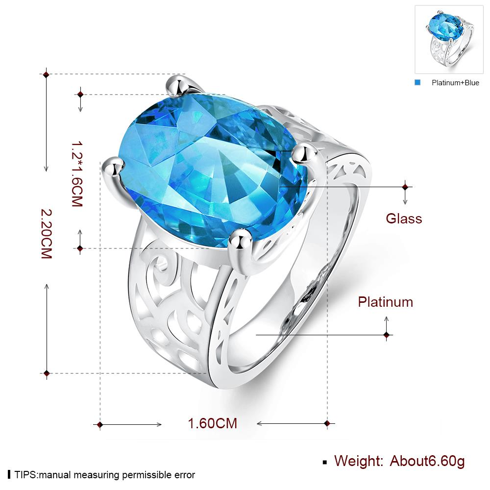 Wholesale Classic Platinum Ring Oval blue Zircon Women Ring Gorgeous Wedding Anniversary Birthday Gift for Wife/Mother/Grandmother TGCZR340 2