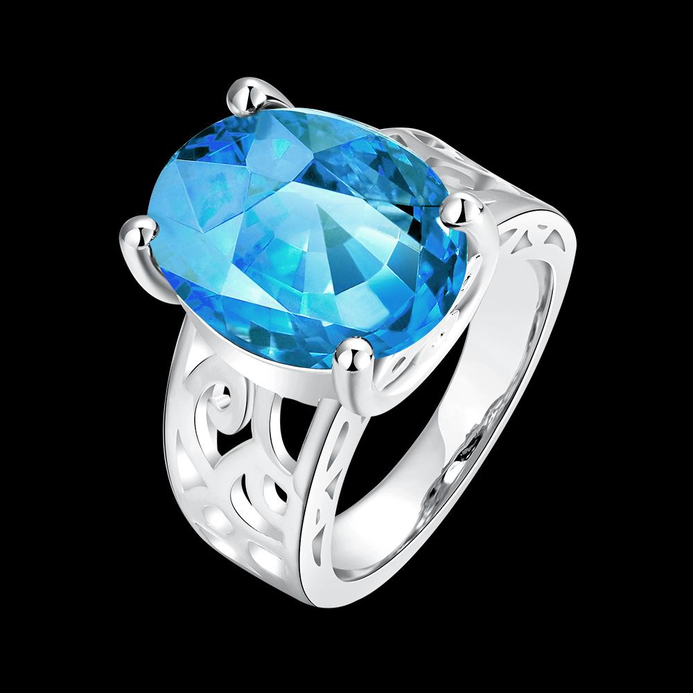 Wholesale Classic Platinum Ring Oval blue Zircon Women Ring Gorgeous Wedding Anniversary Birthday Gift for Wife/Mother/Grandmother TGCZR340 5