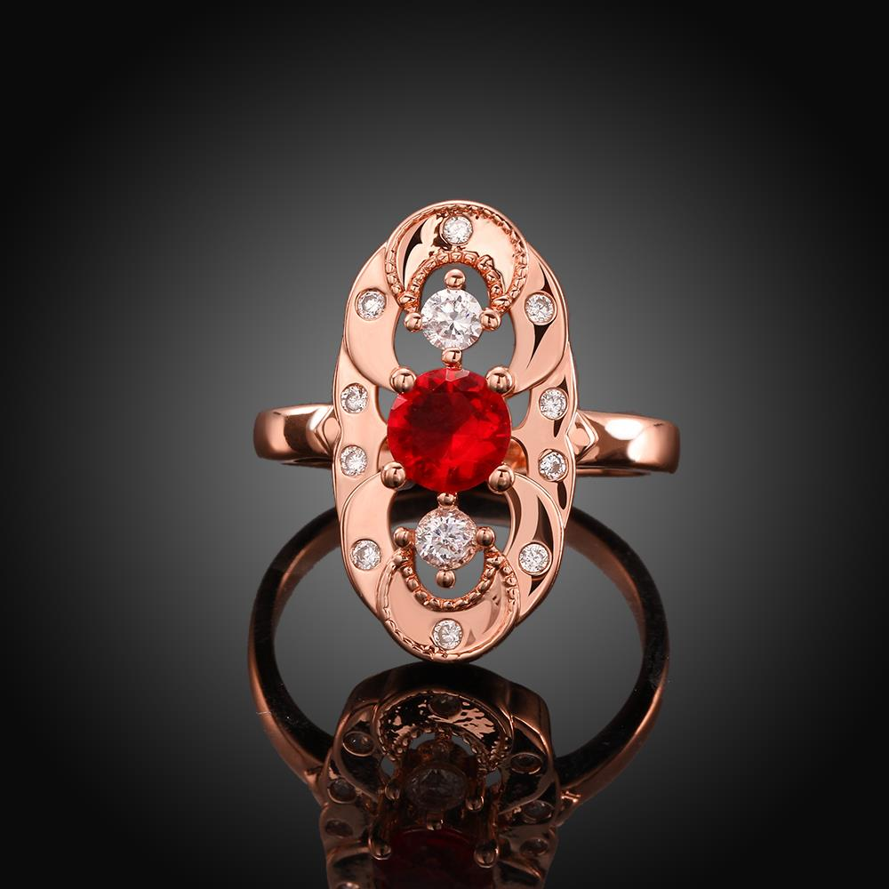Wholesale Vintage Big Hollow Flower Rings rose Gold red Color oval Zircon Rings For Women wedding party Jewelry TGCZR436 0