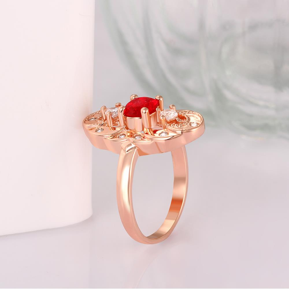 Wholesale Vintage Big Hollow Flower Rings rose Gold red Color oval Zircon Rings For Women wedding party Jewelry TGCZR436 2