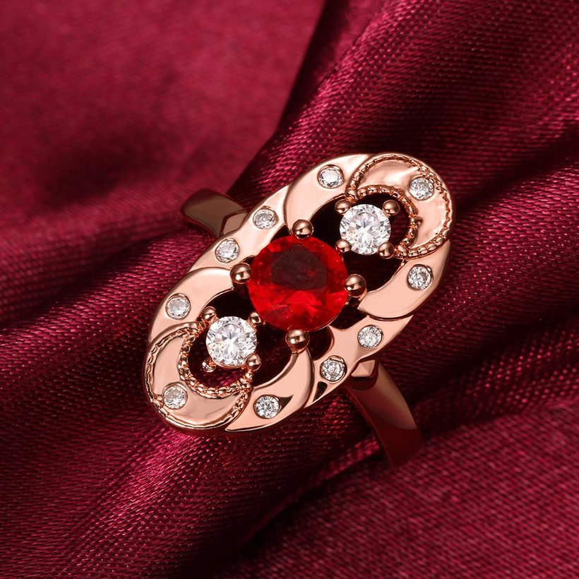 Wholesale Vintage Big Hollow Flower Rings rose Gold red Color oval Zircon Rings For Women wedding party Jewelry TGCZR436 3