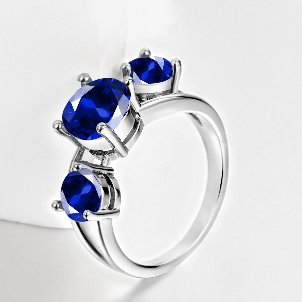 Wholesale Classic Platinum Round blue CZ Ring Luxury Ladies Party engagement wedding jewelry Best Mother's Gift TGCZR085 1