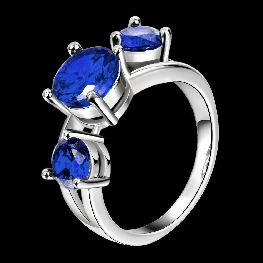 Wholesale Classic Platinum Round blue CZ Ring Luxury Ladies Party engagement wedding jewelry Best Mother's Gift TGCZR085 2