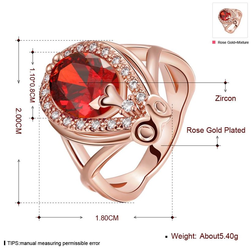 Wholesale Classic Hot selling Red Ruby round Gemstone Wedding Ring For Women Bridal Fine Jewelry Engagement Rose Gold Ring TGCZR247 0
