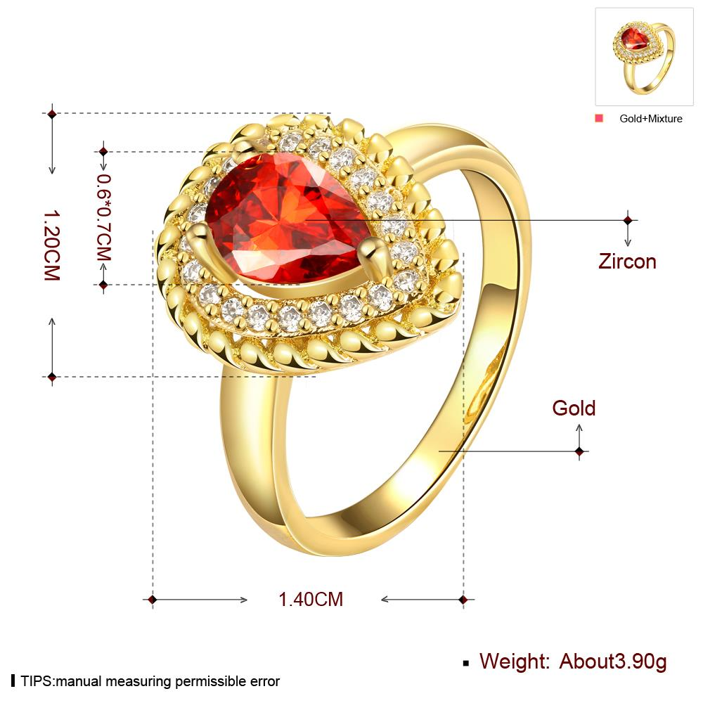 Wholesale Classic Hot selling Red Ruby water drop Gemstone Wedding Ring For Women Bridal Fine Jewelry Engagement 24K Gold Ring TGCZR267 0