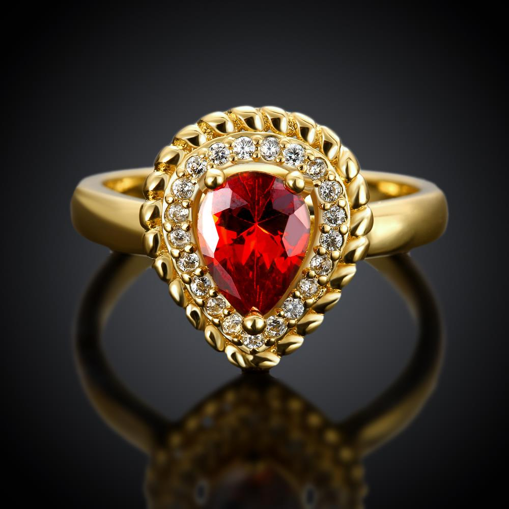 Wholesale Classic Hot selling Red Ruby water drop Gemstone Wedding Ring For Women Bridal Fine Jewelry Engagement 24K Gold Ring TGCZR267 1