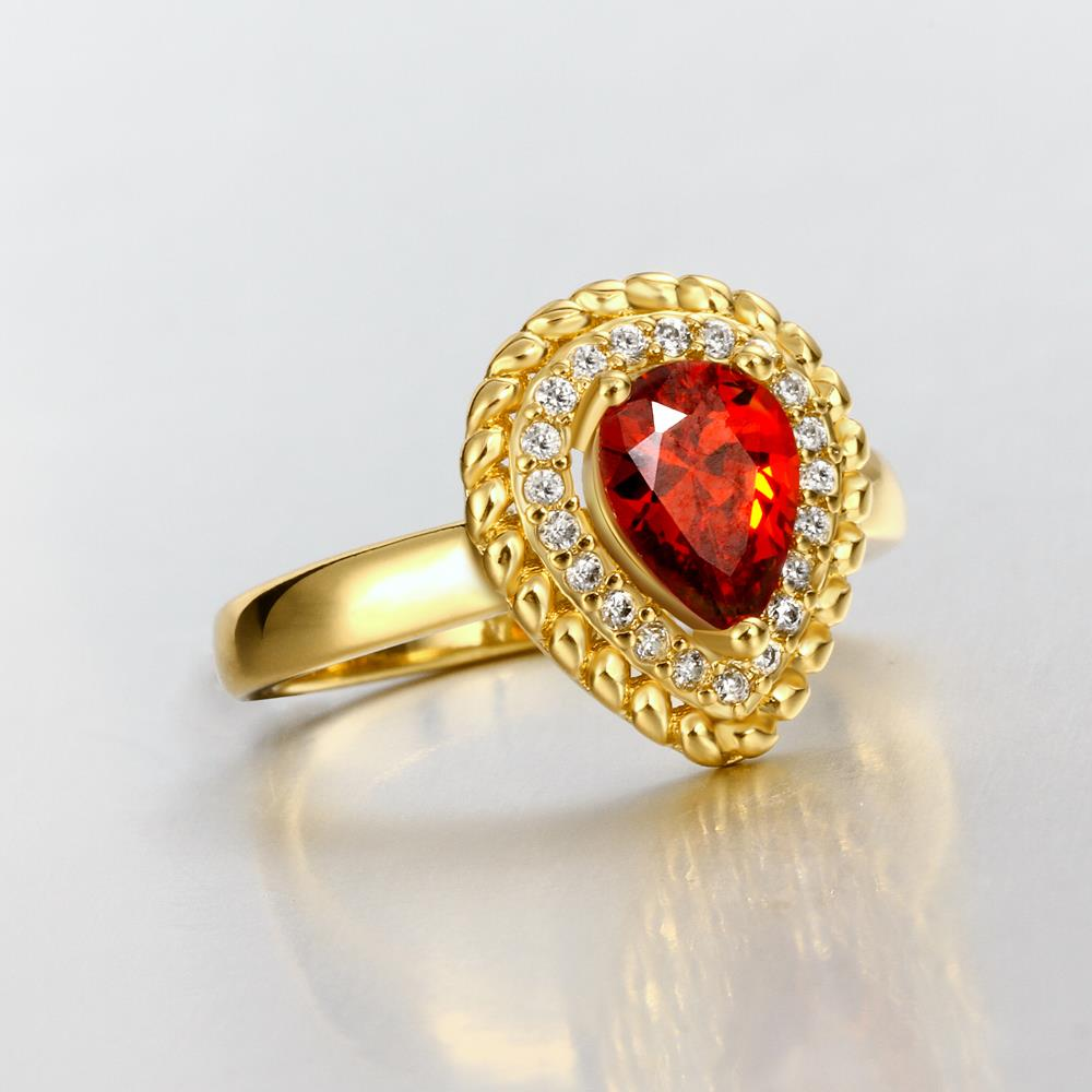 Wholesale Classic Hot selling Red Ruby water drop Gemstone Wedding Ring For Women Bridal Fine Jewelry Engagement 24K Gold Ring TGCZR267 3