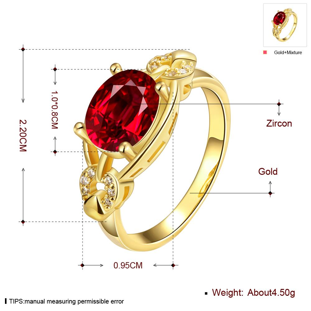 Wholesale Romantic 24k gold Court style Ruby Luxurious Classic Engagement Ring wedding party Ring For Women TGCZR278 0