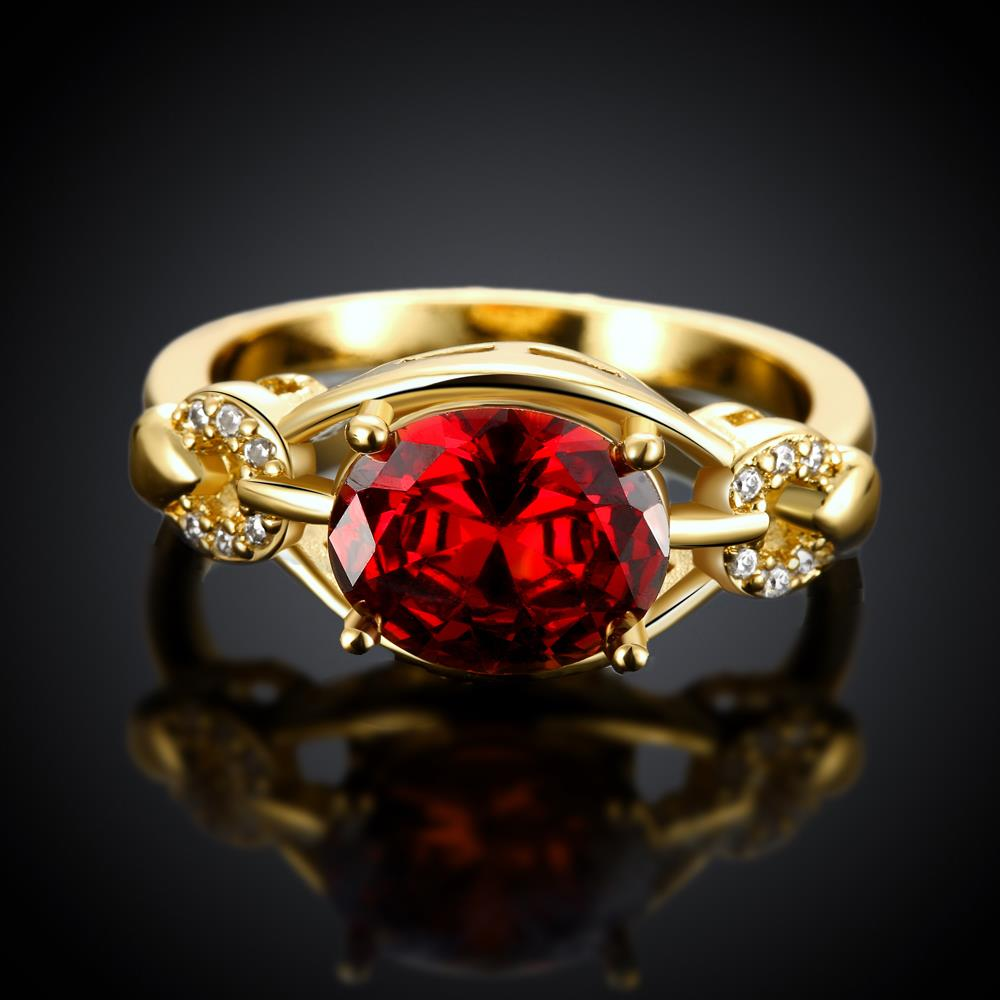 Wholesale Romantic 24k gold Court style Ruby Luxurious Classic Engagement Ring wedding party Ring For Women TGCZR278 1