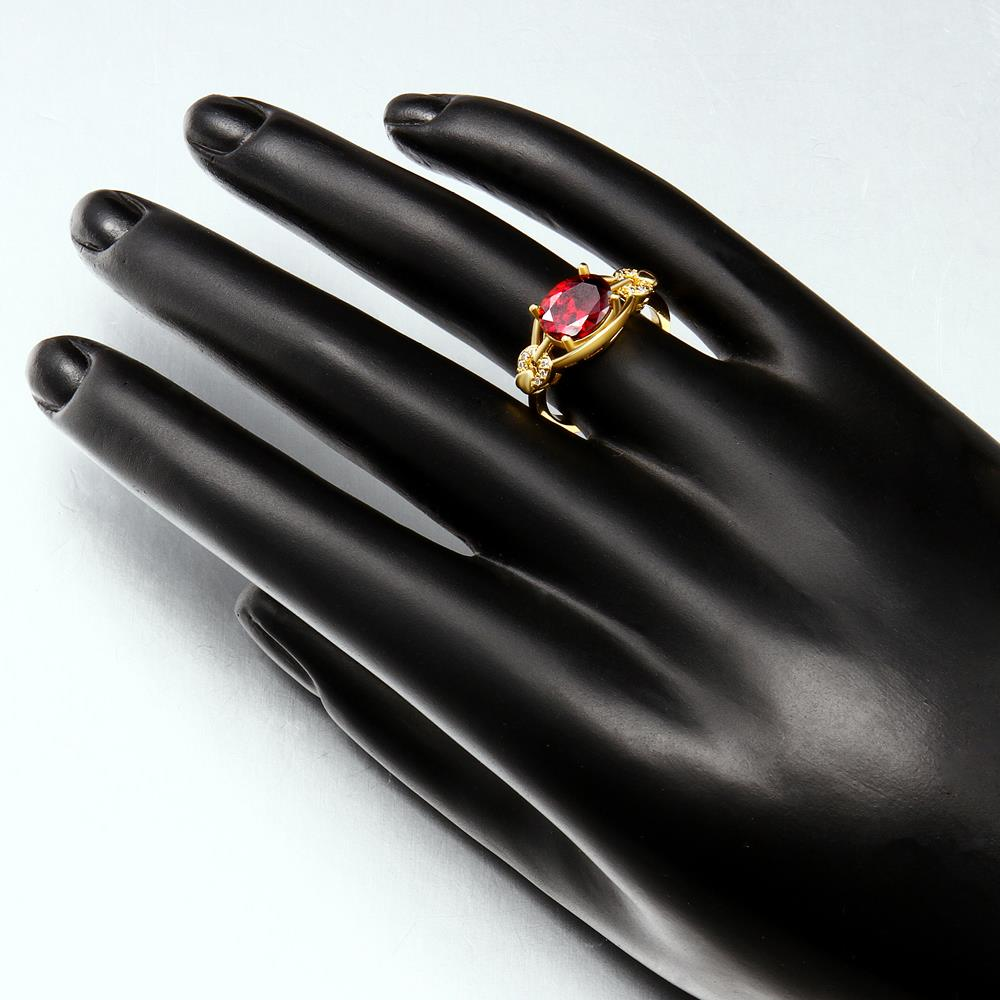 Wholesale Romantic 24k gold Court style Ruby Luxurious Classic Engagement Ring wedding party Ring For Women TGCZR278 2