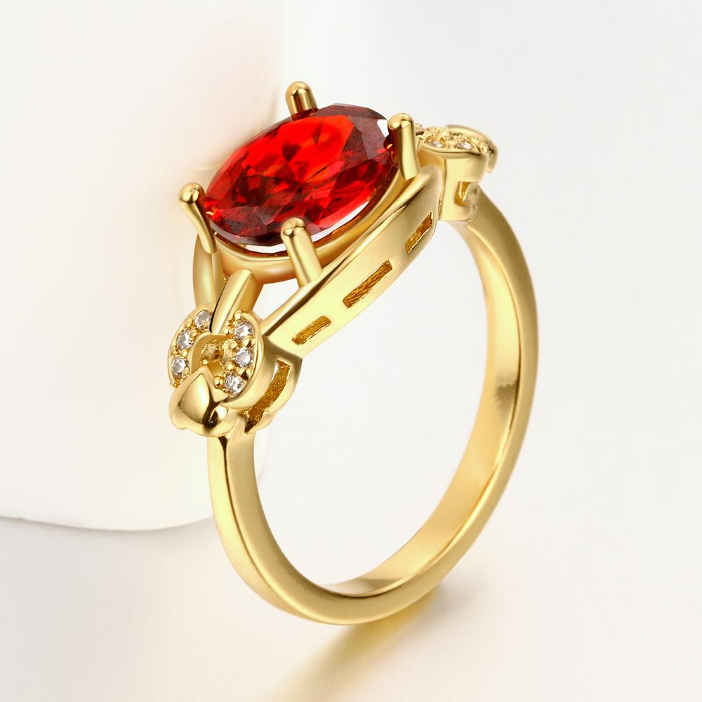 Wholesale Romantic 24k gold Court style Ruby Luxurious Classic Engagement Ring wedding party Ring For Women TGCZR278 4