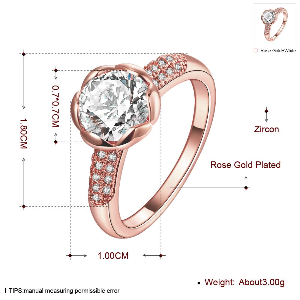 Wholesale Fashion Romantic Rose Gold Plated rose flower white CZ Ring nobility Luxury Ladies Party engagement jewelry Best Mother's Gift  TGCZR290 0