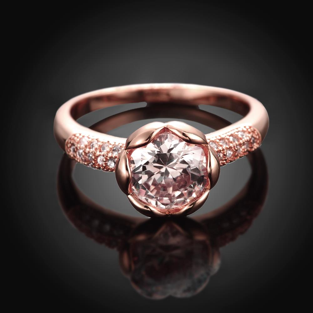 Wholesale Fashion Romantic Rose Gold Plated rose flower white CZ Ring nobility Luxury Ladies Party engagement jewelry Best Mother's Gift  TGCZR290 1