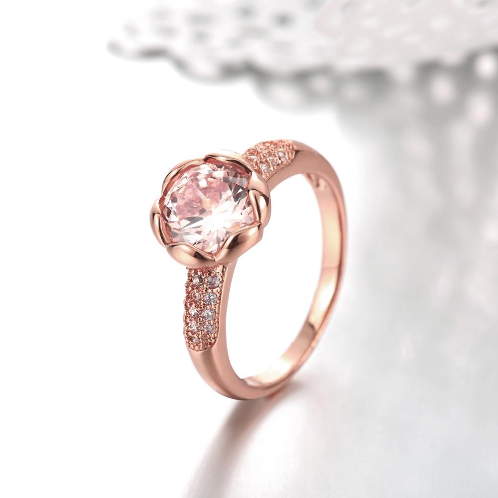 Wholesale Fashion Romantic Rose Gold Plated rose flower white CZ Ring nobility Luxury Ladies Party engagement jewelry Best Mother's Gift  TGCZR290 2