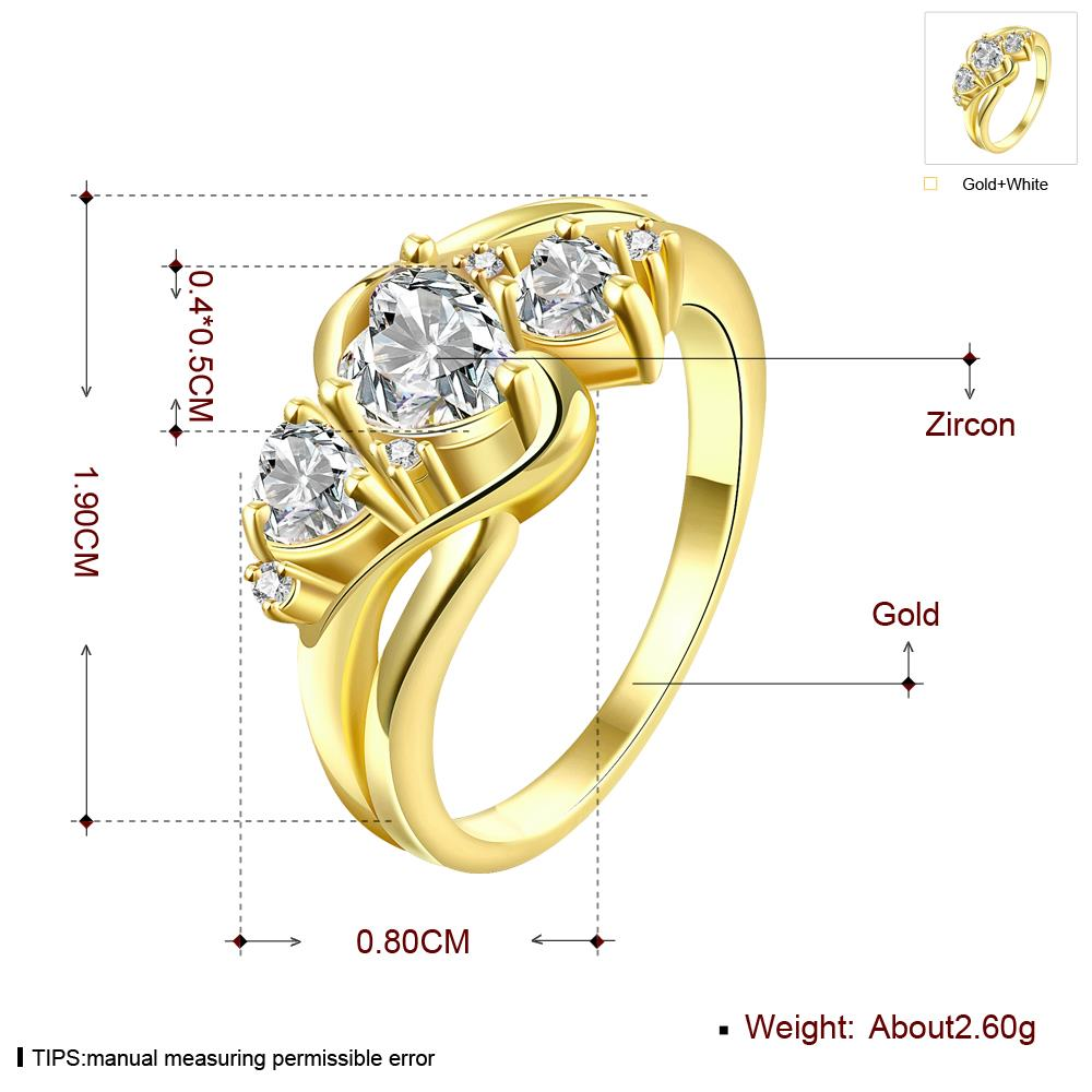 Wholesale Classic 24K Gold Heart White shape CZ Ring for women Engagement Wedding Band Rings for women Bridal Jewelry TGCZR306 3