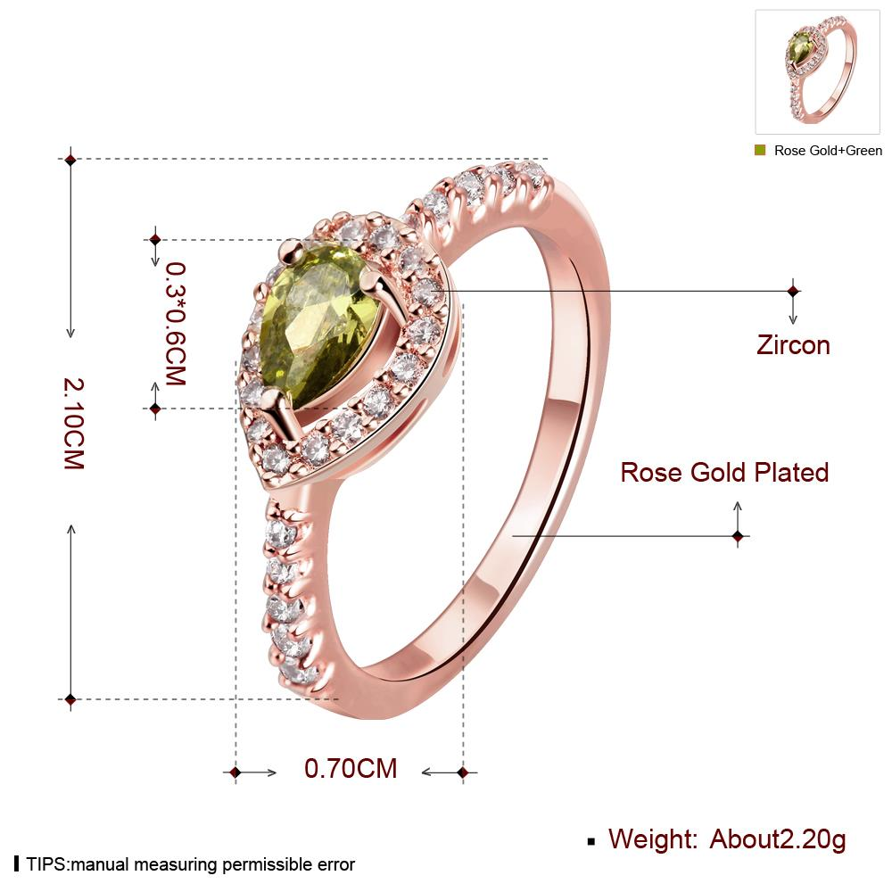 Wholesale Classic Rose Gold Water Drop Green CZ Ring for women Multi-Color Jewelry Rings Wedding Valentine's Day Gift TGCZR309 0