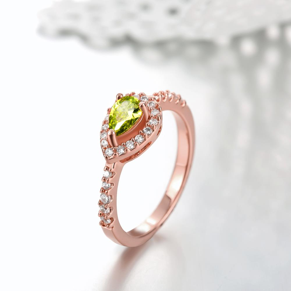 Wholesale Classic Rose Gold Water Drop Green CZ Ring for women Multi-Color Jewelry Rings Wedding Valentine's Day Gift TGCZR309 2
