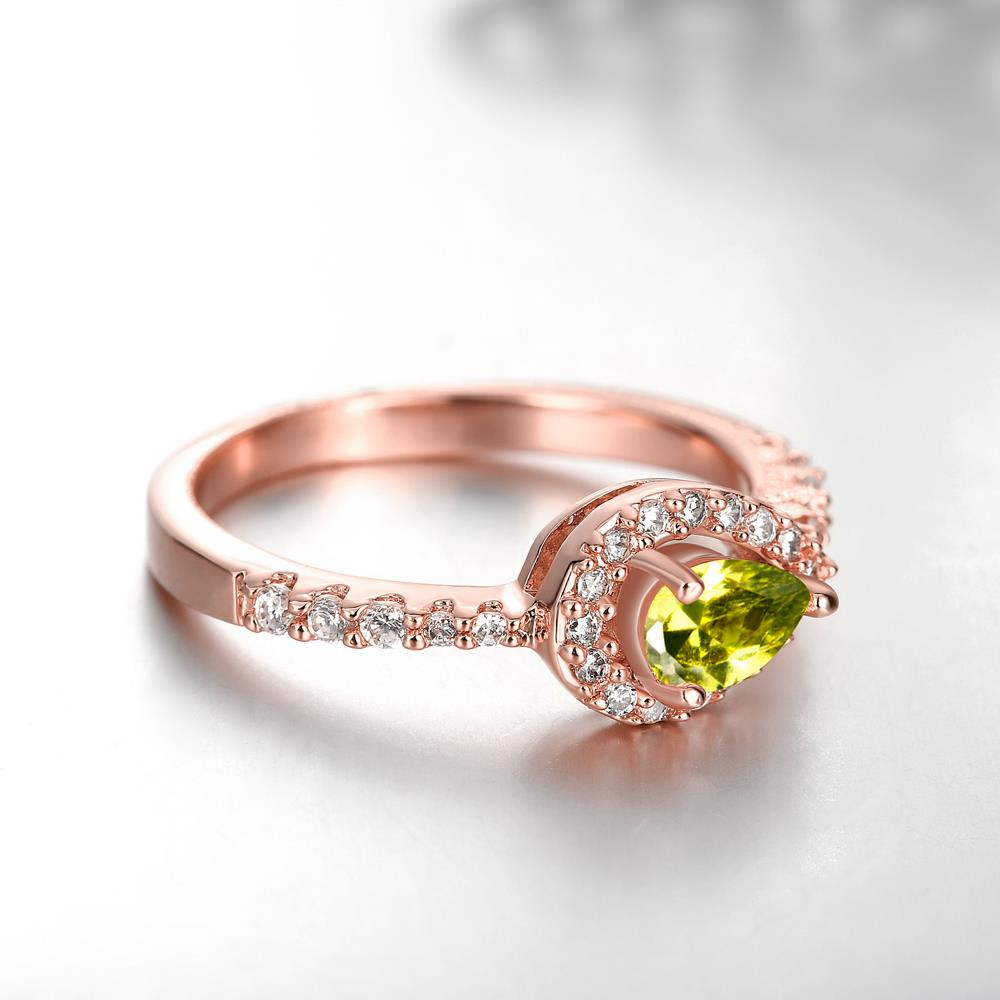 Wholesale Classic Rose Gold Water Drop Green CZ Ring for women Multi-Color Jewelry Rings Wedding Valentine's Day Gift TGCZR309 3