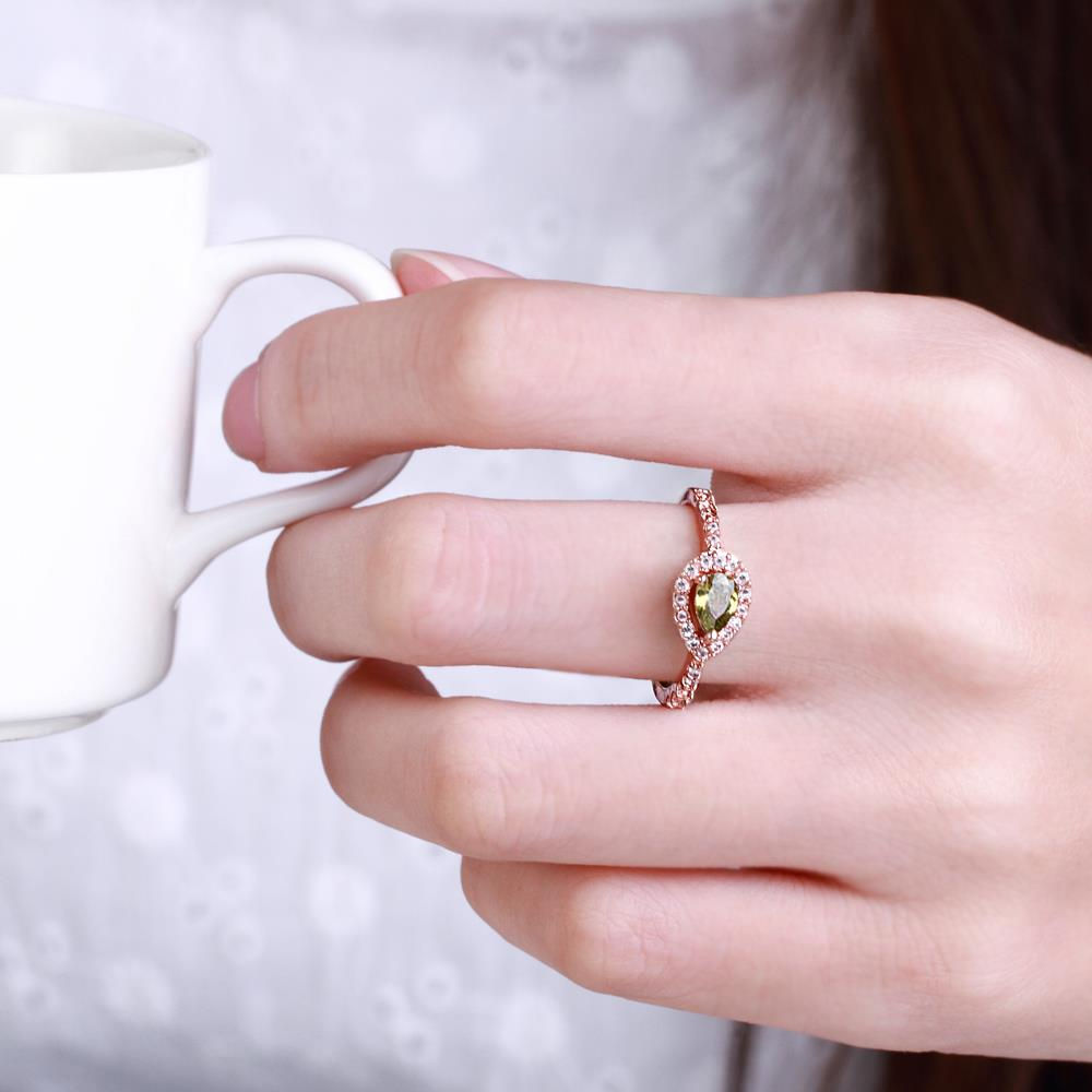 Wholesale Classic Rose Gold Water Drop Green CZ Ring for women Multi-Color Jewelry Rings Wedding Valentine's Day Gift TGCZR309 4