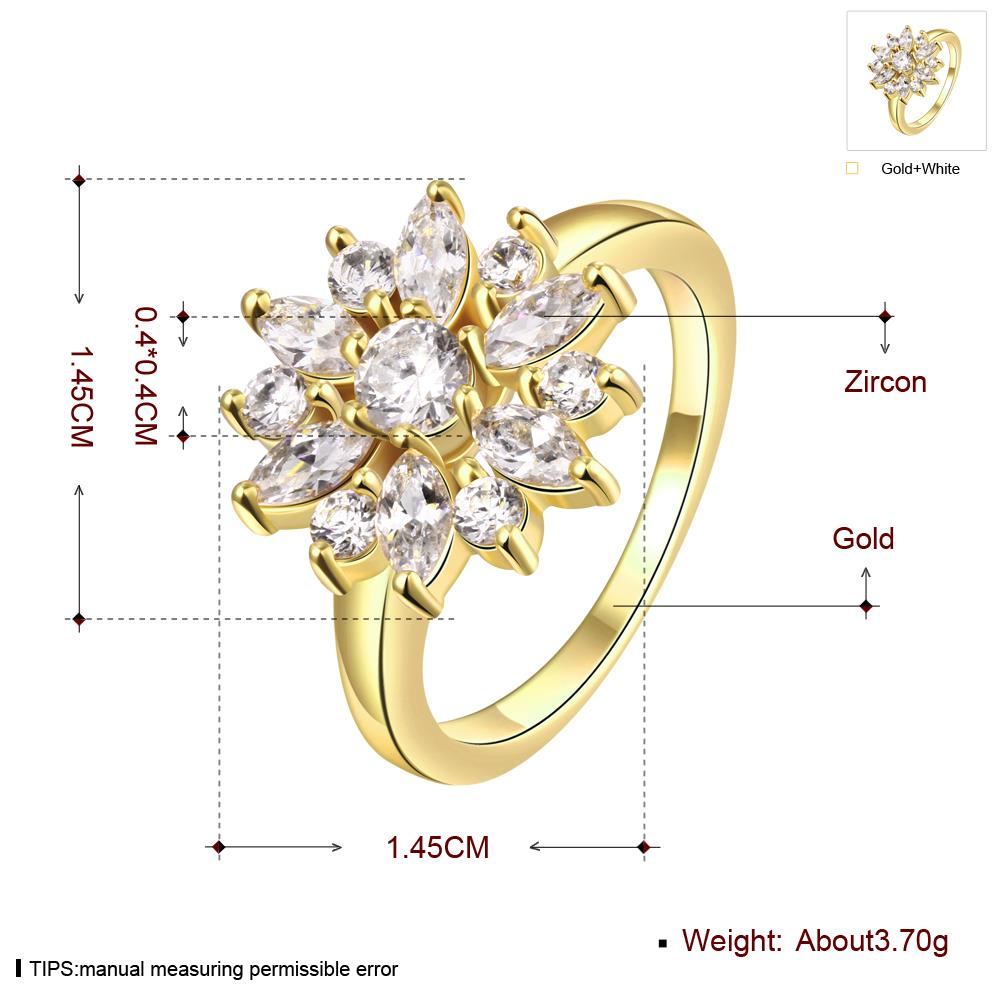 Wholesale Clearance sale New Fashion Wedding Flower Jewelry White Zircon 24k Gold Color Ring Christmas Gifts Elegant Gift TGCZR318 0