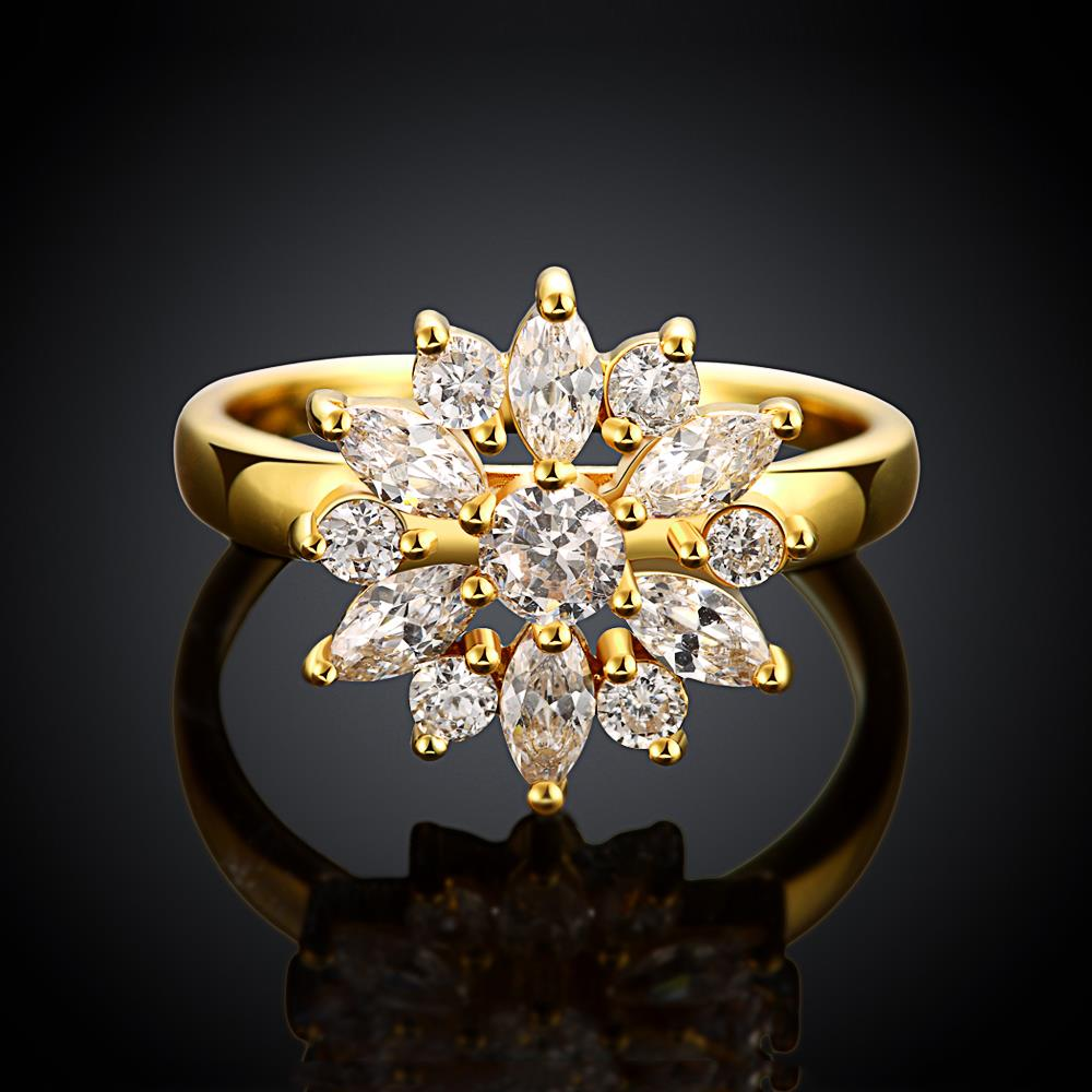 Wholesale Clearance sale New Fashion Wedding Flower Jewelry White Zircon 24k Gold Color Ring Christmas Gifts Elegant Gift TGCZR318 1