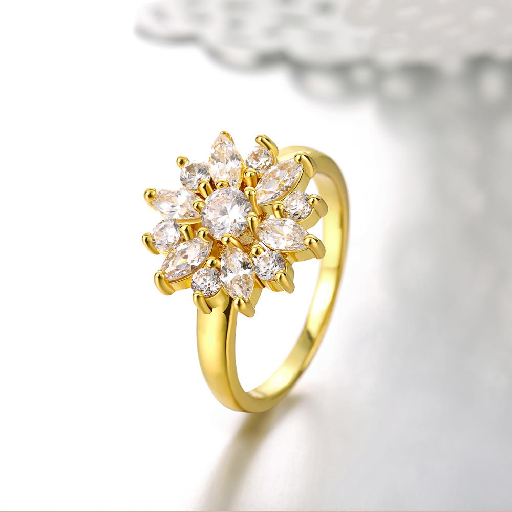 Wholesale Clearance sale New Fashion Wedding Flower Jewelry White Zircon 24k Gold Color Ring Christmas Gifts Elegant Gift TGCZR318 2