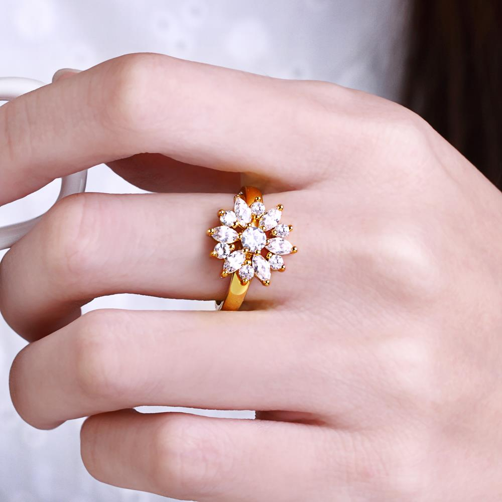 Wholesale Clearance sale New Fashion Wedding Flower Jewelry White Zircon 24k Gold Color Ring Christmas Gifts Elegant Gift TGCZR318 4